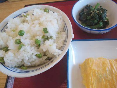 豆ご飯+玉子焼き+菜の花辛子和え@まいどおおきに食堂